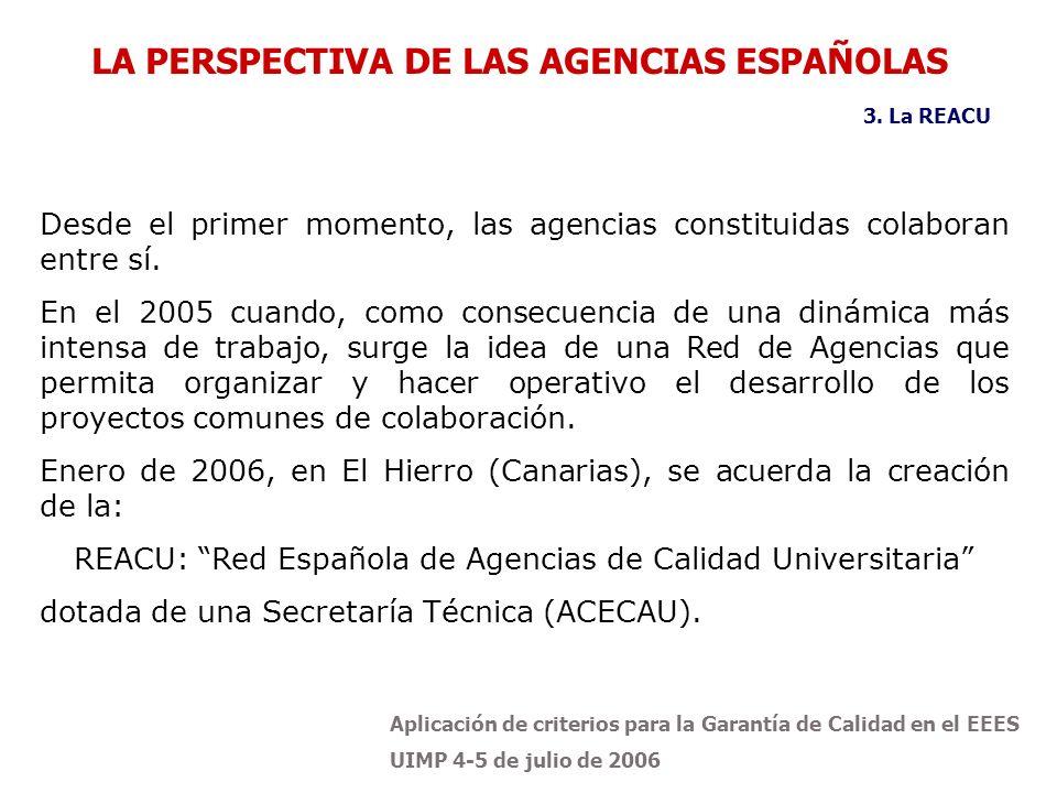Aplicación de criterios para la Garantía de Calidad en el EEES UIMP 4-5 de julio de 2006 LA PERSPECTIVA DE LAS AGENCIAS ESPAÑOLAS 3. La REACU Desde el