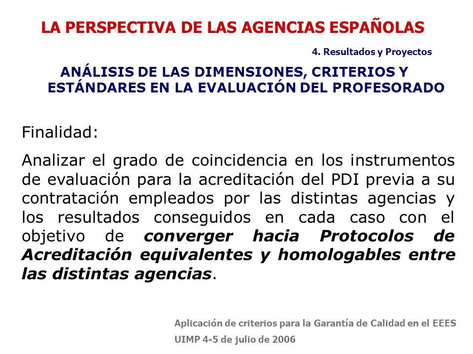 Aplicación de criterios para la Garantía de Calidad en el EEES UIMP 4-5 de julio de 2006 ANÁLISIS DE LAS DIMENSIONES, CRITERIOS Y ESTÁNDARES EN LA EVALUACIÓN DEL PROFESORADO LA PERSPECTIVA DE LAS AGENCIAS ESPAÑOLAS 4.