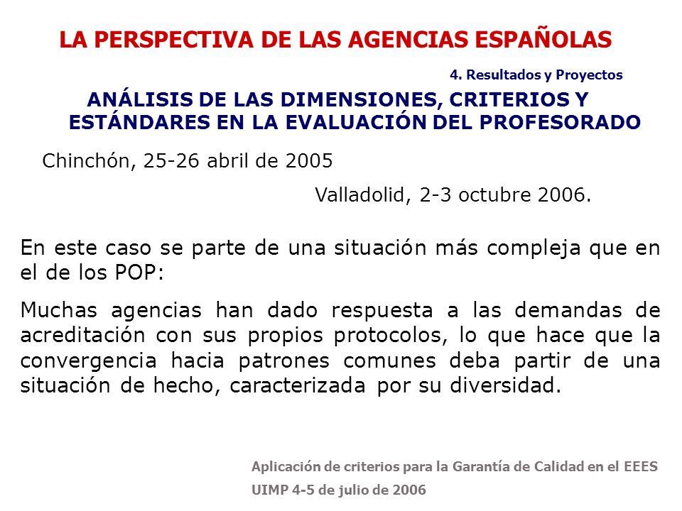 Aplicación de criterios para la Garantía de Calidad en el EEES UIMP 4-5 de julio de 2006 Chinchón, 25-26 abril de 2005 Valladolid, 2-3 octubre 2006. L