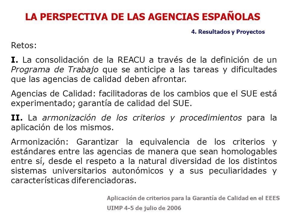 Aplicación de criterios para la Garantía de Calidad en el EEES UIMP 4-5 de julio de 2006 Retos: I.
