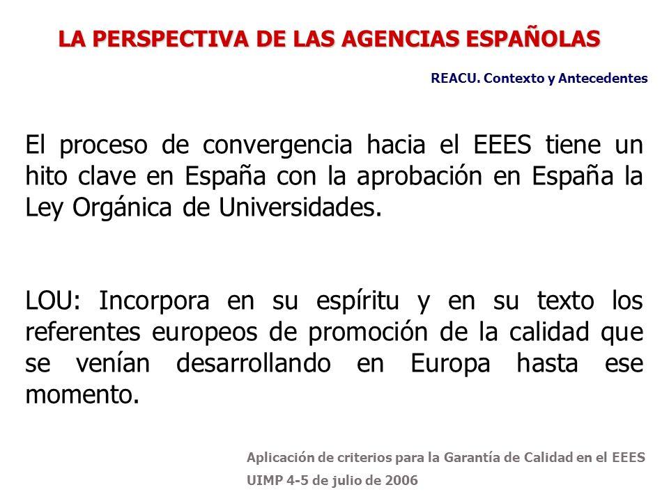 Aplicación de criterios para la Garantía de Calidad en el EEES UIMP 4-5 de julio de 2006 El proceso de convergencia hacia el EEES tiene un hito clave en España con la aprobación en España la Ley Orgánica de Universidades.