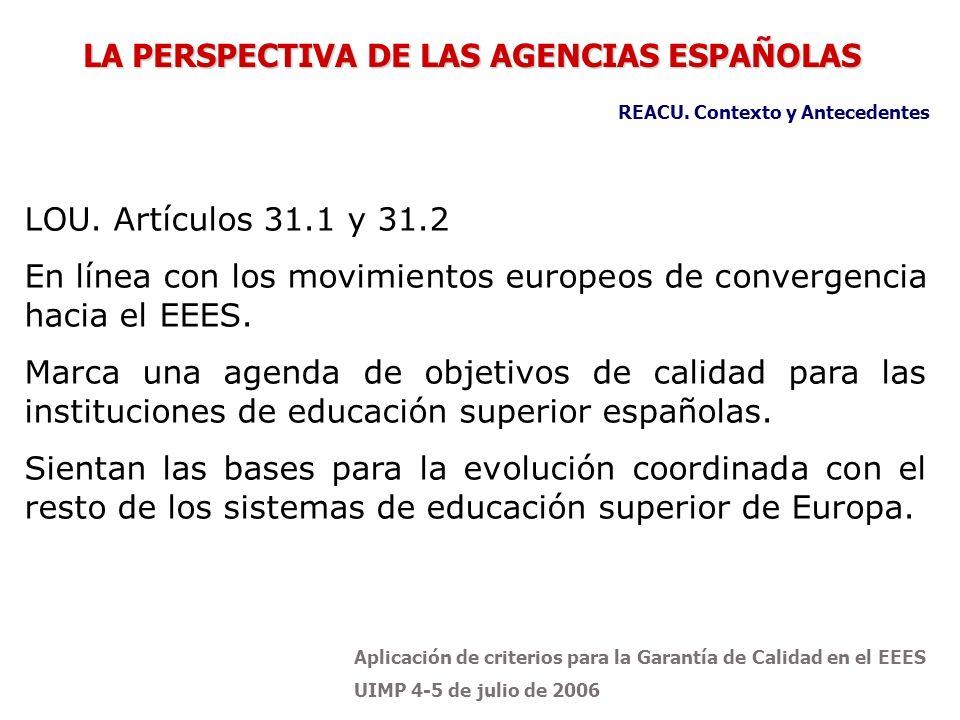 Aplicación de criterios para la Garantía de Calidad en el EEES UIMP 4-5 de julio de 2006 LOU. Artículos 31.1 y 31.2 En línea con los movimientos europ