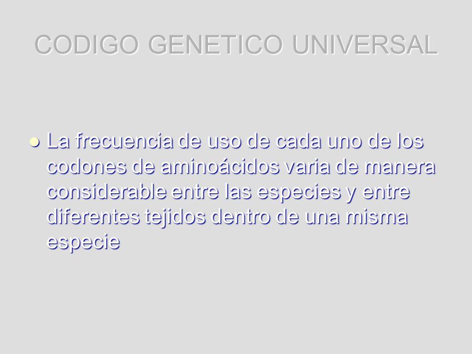 CODIGO GENETICO UNIVERSAL La frecuencia de uso de cada uno de los codones de aminoácidos varia de manera considerable entre las especies y entre difer