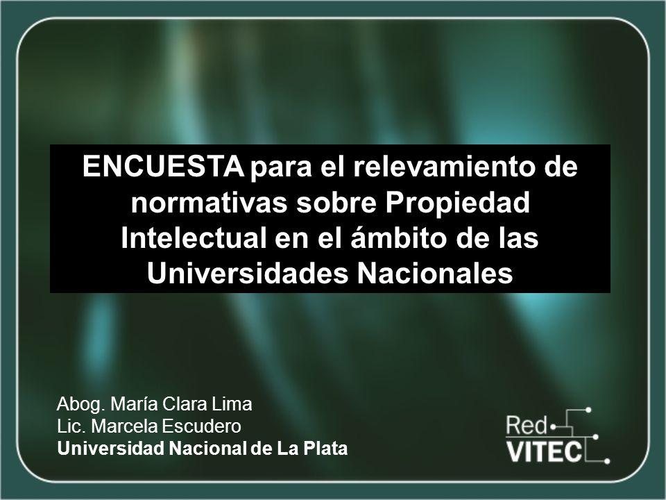 ENCUESTA para el relevamiento de normativas sobre Propiedad Intelectual en el ámbito de las Universidades Nacionales Abog.