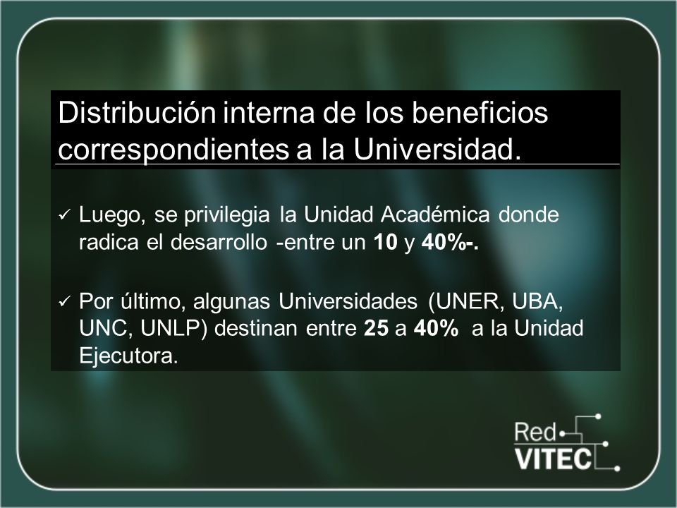 Distribución interna de los beneficios correspondientes a la Universidad.