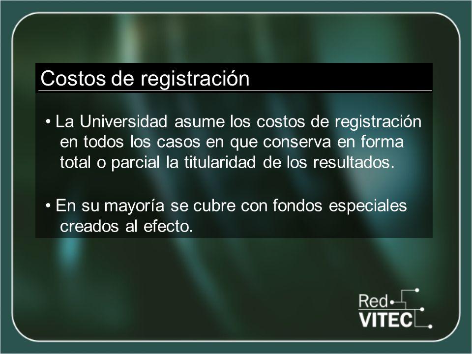 Costos de registración La Universidad asume los costos de registración en todos los casos en que conserva en forma total o parcial la titularidad de los resultados.