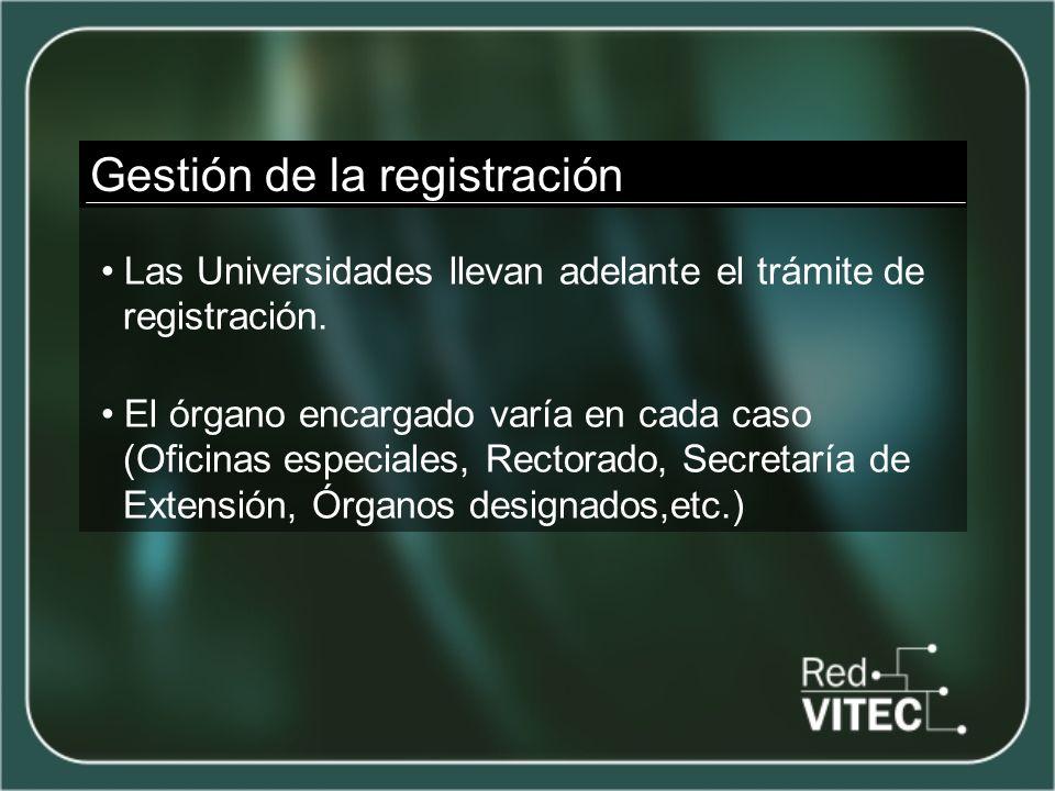 Gestión de la registración Las Universidades llevan adelante el trámite de registración.
