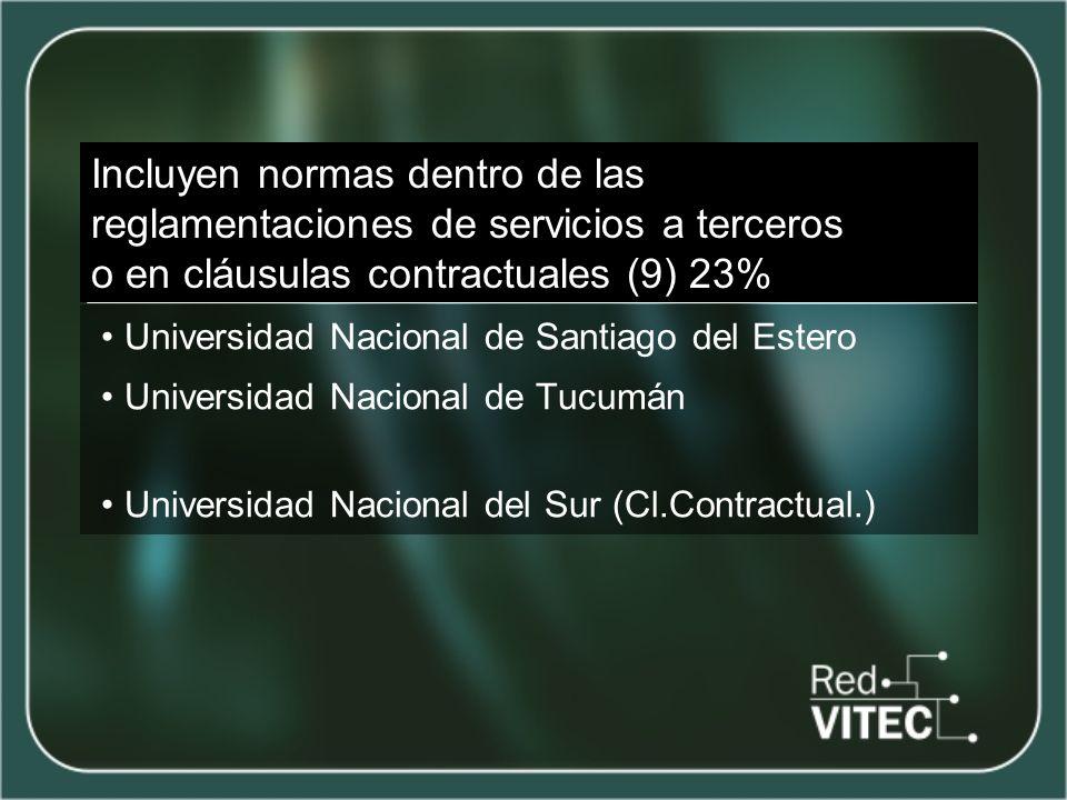 NO poseen reglamentación sobre el tema (16) 41% Universidad Nacional de Catamarca Universidad Nacional de Cuyo Universidad Nacional de Formosa Universidad Nacional de Gral.