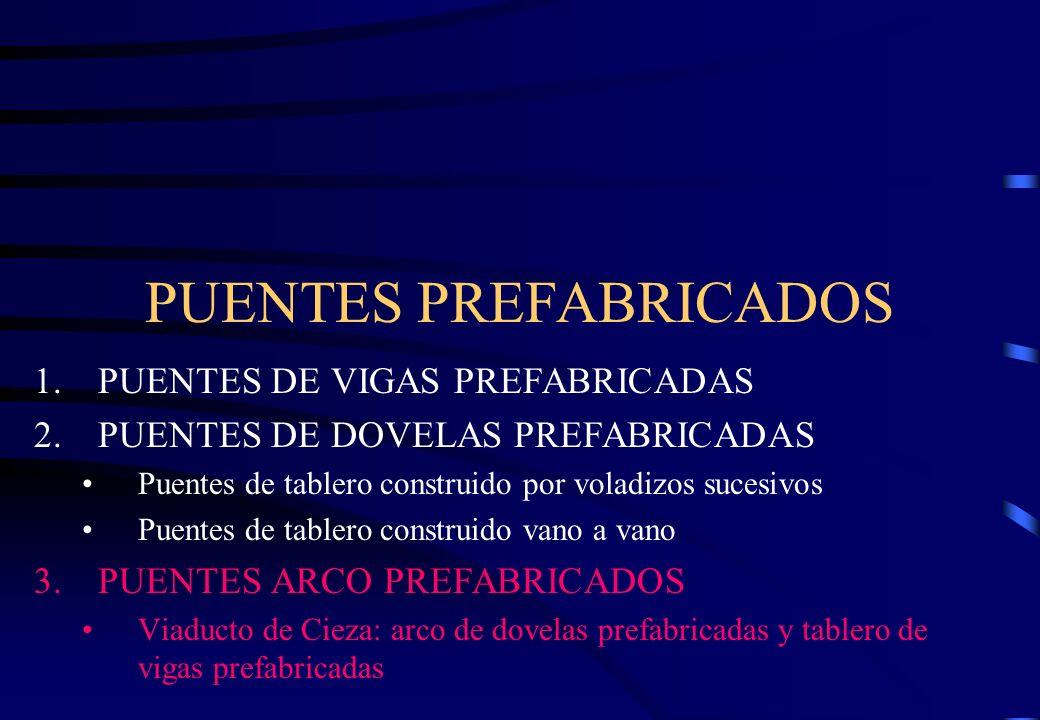 PUENTES PREFABRICADOS 1.PUENTES DE VIGAS PREFABRICADAS 2.PUENTES DE DOVELAS PREFABRICADAS Puentes de tablero construido por voladizos sucesivos Puente