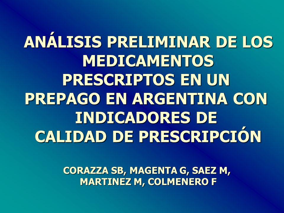 ANÁLISIS PRELIMINAR DE LOS MEDICAMENTOS MEDICAMENTOS PRESCRIPTOS EN UN PREPAGO EN ARGENTINA CON INDICADORES DE CALIDAD DE PRESCRIPCIÓN CORAZZA SB, MAGENTA G, SAEZ M, MARTINEZ M, COLMENERO F