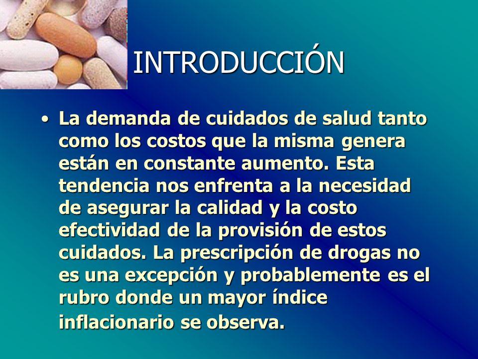 INTRODUCCIÓN El costo de los beneficios de farmacia sufre anualmente un incremento de entre el 10 y 15%.