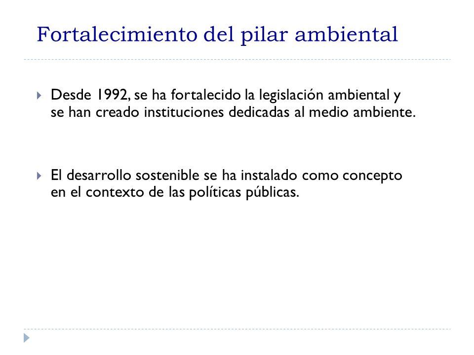 Fortalecimiento del pilar ambiental Desde 1992, se ha fortalecido la legislación ambiental y se han creado instituciones dedicadas al medio ambiente.