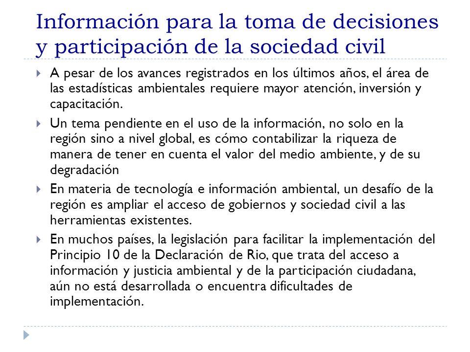 Información para la toma de decisiones y participación de la sociedad civil A pesar de los avances registrados en los últimos años, el área de las est