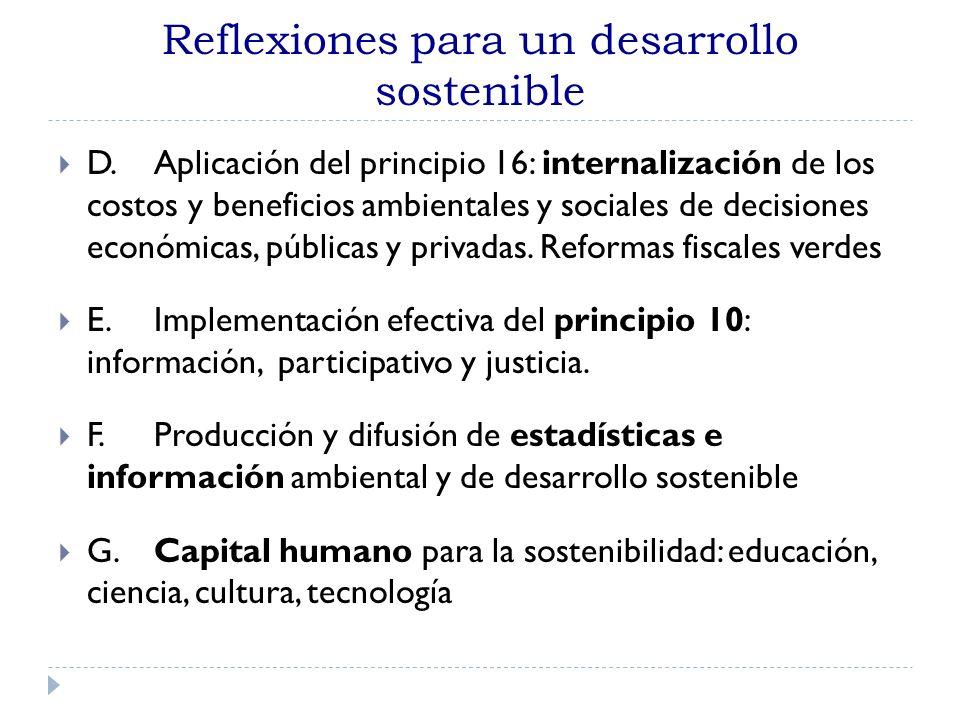 Reflexiones para un desarrollo sostenible D. Aplicación del principio 16: internalización de los costos y beneficios ambientales y sociales de decisio