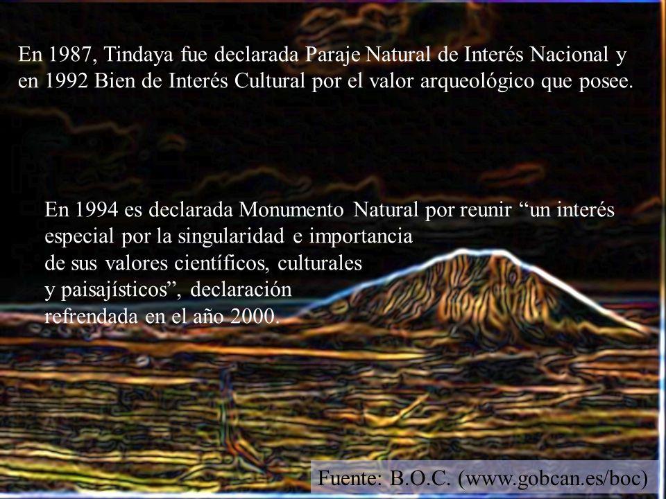 En 1987, Tindaya fue declarada Paraje Natural de Interés Nacional y en 1992 Bien de Interés Cultural por el valor arqueológico que posee. En 1994 es d