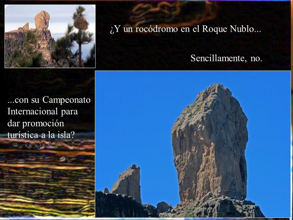 ¿Y un rocódromo en el Roque Nublo......con su Campeonato Internacional para dar promoción turística a la isla? Sencillamente, no.