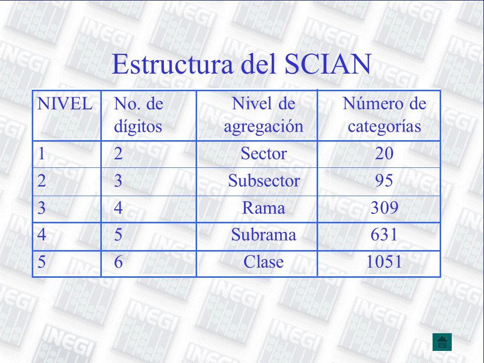 Estructura del SCIAN 20 95 309 631 1051 Sector Subsector Rama Subrama Clase Número de categorías Nivel de agregación 2345623456 1234512345 No. de dígi