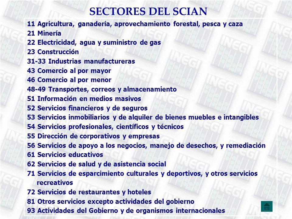 SECTORES DEL SCIAN 11 Agricultura, ganadería, aprovechamiento forestal, pesca y caza 21 Minería 22 Electricidad, agua y suministro de gas 23 Construcc