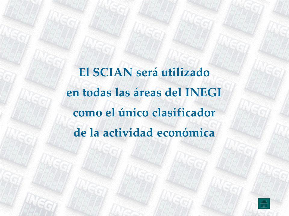 El SCIAN será utilizado en todas las áreas del INEGI como el único clasificador de la actividad económica