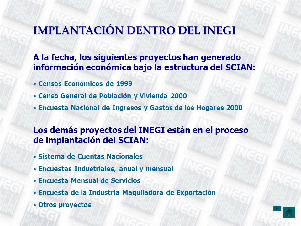 Censos Económicos de 1999 Censo General de Población y Vivienda 2000 Encuesta Nacional de Ingresos y Gastos de los Hogares 2000 A la fecha, los siguie