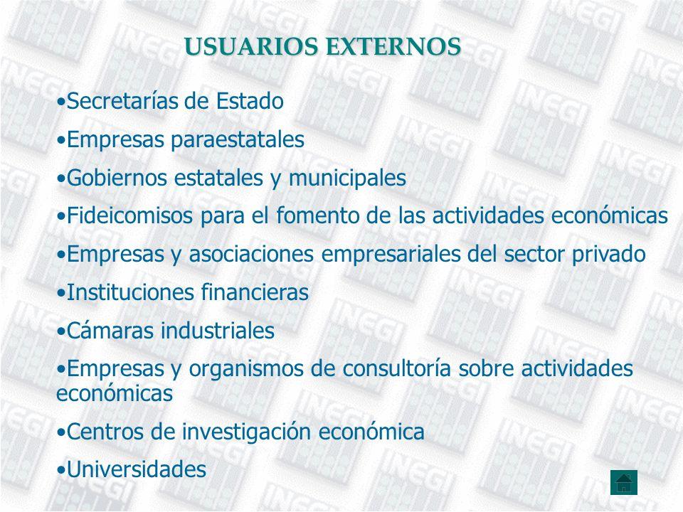 USUARIOS EXTERNOS Secretarías de Estado Empresas paraestatales Gobiernos estatales y municipales Fideicomisos para el fomento de las actividades econó