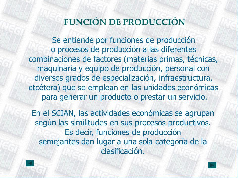 FUNCIÓN DE PRODUCCIÓN Se entiende por funciones de producción o procesos de producción a las diferentes combinaciones de factores (materias primas, té