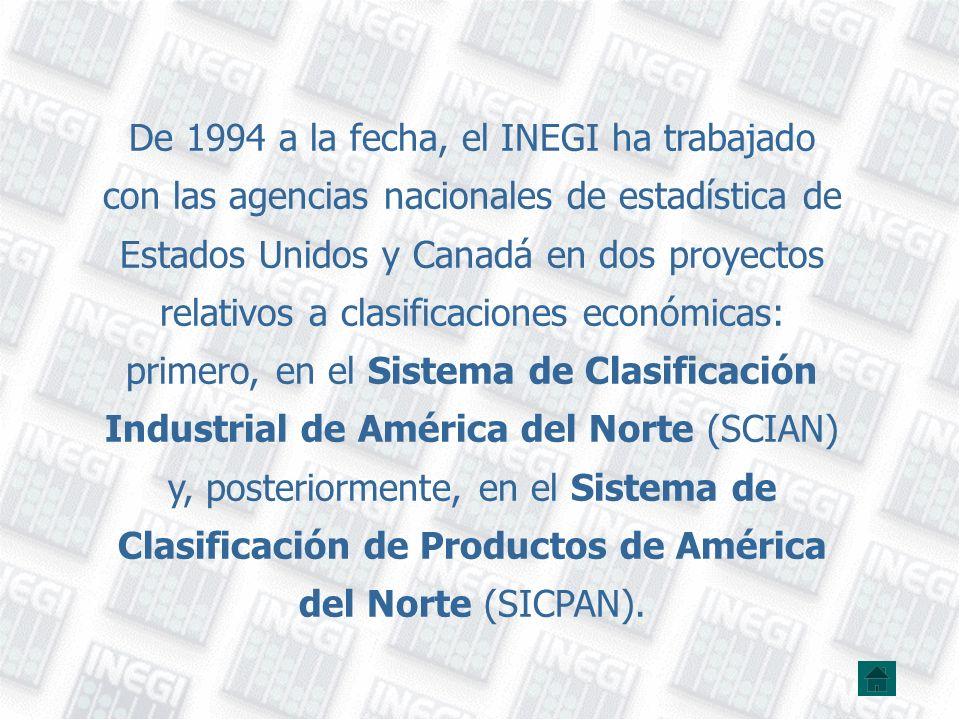 De 1994 a la fecha, el INEGI ha trabajado con las agencias nacionales de estadística de Estados Unidos y Canadá en dos proyectos relativos a clasifica