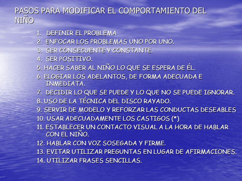 PASOS PARA MODIFICAR EL COMPORTAMIENTO DEL NIÑO 1.