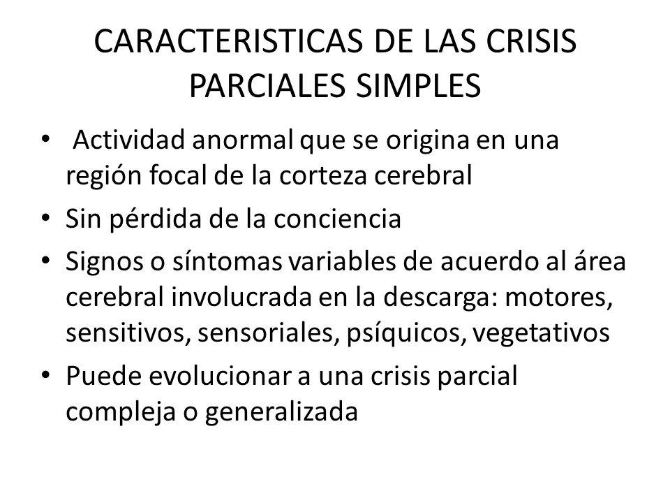CARACTERISTICAS DE LAS CRISIS PARCIALES SIMPLES Actividad anormal que se origina en una región focal de la corteza cerebral Sin pérdida de la conciencia Signos o síntomas variables de acuerdo al área cerebral involucrada en la descarga: motores, sensitivos, sensoriales, psíquicos, vegetativos Puede evolucionar a una crisis parcial compleja o generalizada
