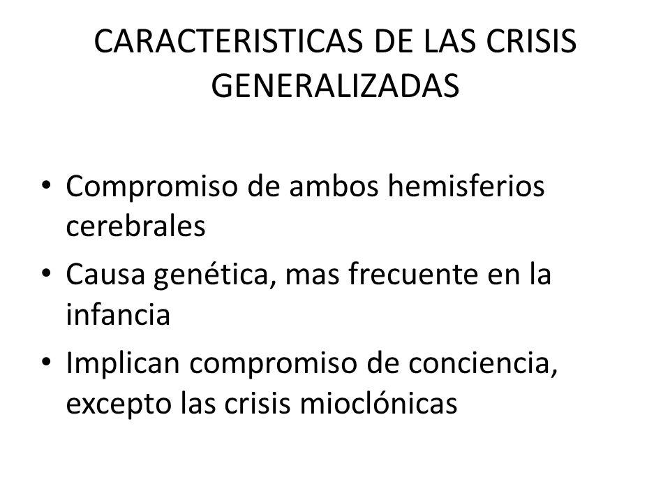 CARACTERISTICAS DE LAS CRISIS GENERALIZADAS Compromiso de ambos hemisferios cerebrales Causa genética, mas frecuente en la infancia Implican compromiso de conciencia, excepto las crisis mioclónicas