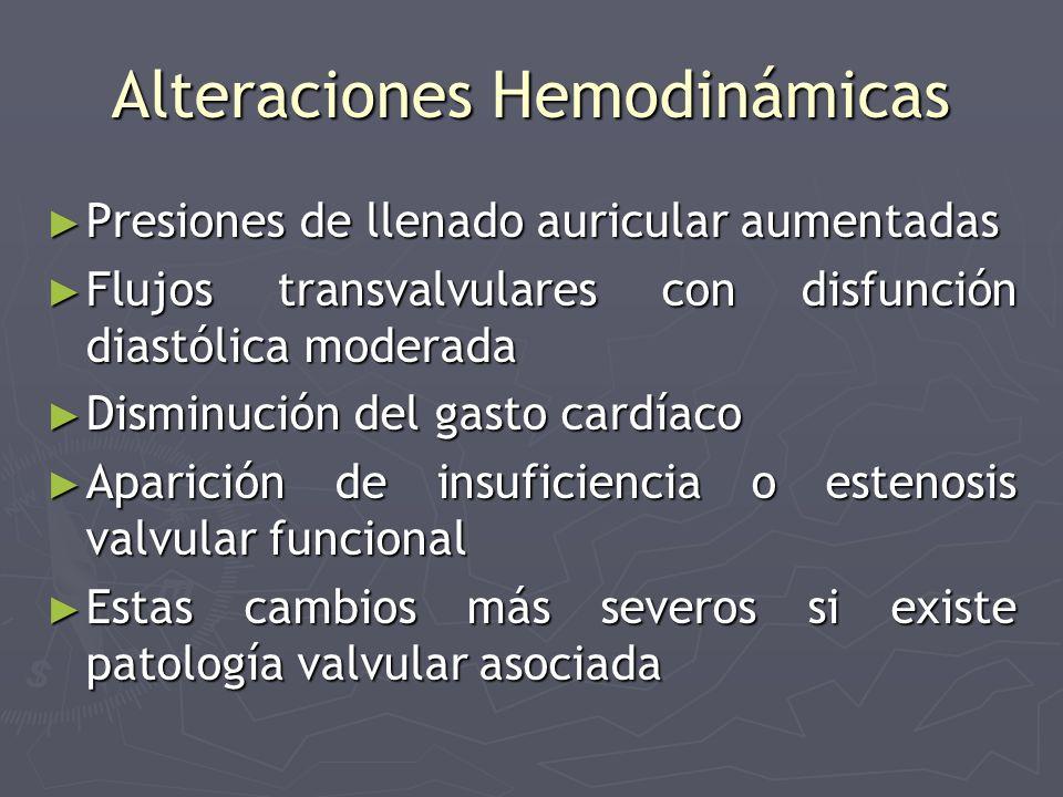Alteraciones Hemodinámicas Presiones de llenado auricular aumentadas Presiones de llenado auricular aumentadas Flujos transvalvulares con disfunción d