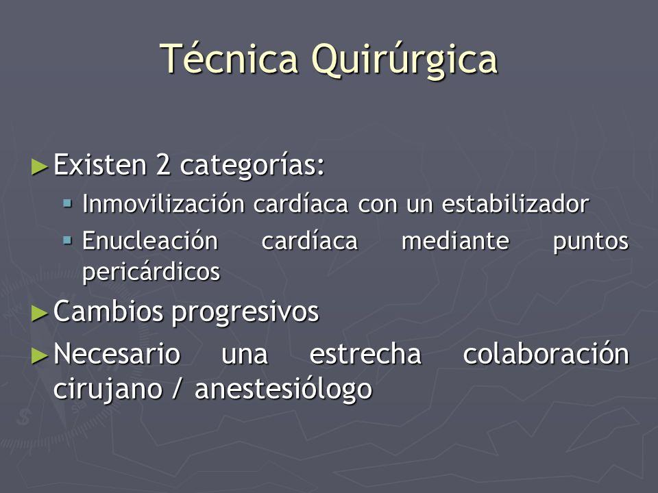 Técnica Quirúrgica Existen 2 categorías: Existen 2 categorías: Inmovilización cardíaca con un estabilizador Inmovilización cardíaca con un estabilizad