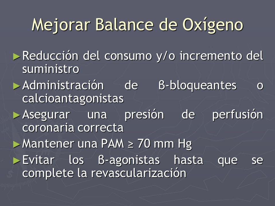 Mejorar Balance de Oxígeno Reducción del consumo y/o incremento del suministro Reducción del consumo y/o incremento del suministro Administración de β