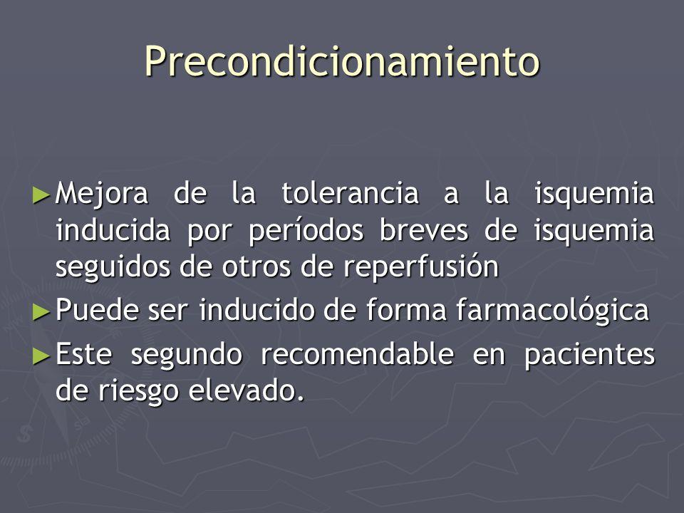 Precondicionamiento Mejora de la tolerancia a la isquemia inducida por períodos breves de isquemia seguidos de otros de reperfusión Mejora de la toler