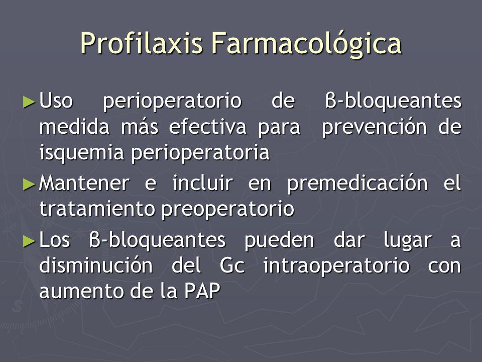 Profilaxis Farmacológica Uso perioperatorio de β-bloqueantes medida más efectiva para prevención de isquemia perioperatoria Uso perioperatorio de β-bl