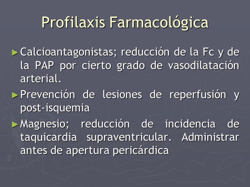 Profilaxis Farmacológica Calcioantagonistas; reducción de la Fc y de la PAP por cierto grado de vasodilatación arterial. Calcioantagonistas; reducción
