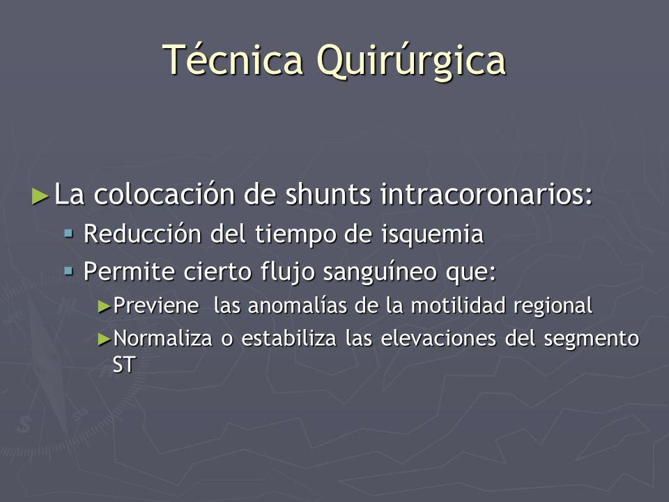 Técnica Quirúrgica La colocación de shunts intracoronarios: La colocación de shunts intracoronarios: Reducción del tiempo de isquemia Reducción del ti