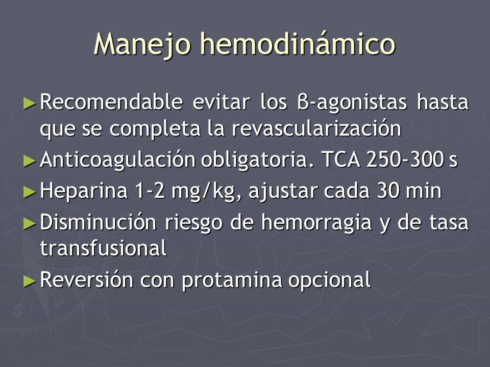 Manejo hemodinámico Recomendable evitar los β-agonistas hasta que se completa la revascularización Recomendable evitar los β-agonistas hasta que se co