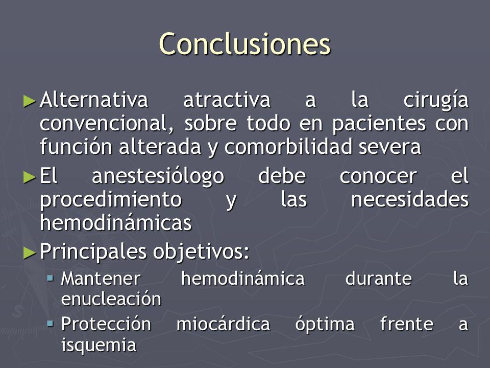 Conclusiones Alternativa atractiva a la cirugía convencional, sobre todo en pacientes con función alterada y comorbilidad severa Alternativa atractiva