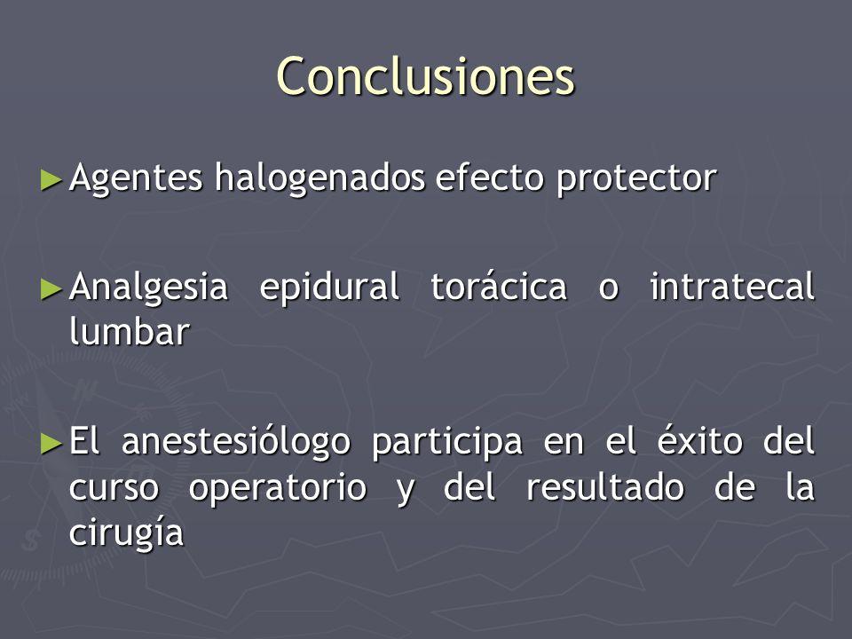 Conclusiones Agentes halogenados efecto protector Agentes halogenados efecto protector Analgesia epidural torácica o intratecal lumbar Analgesia epidu