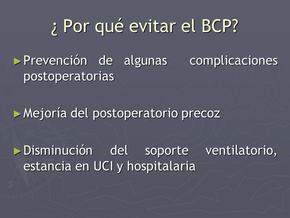 ¿ Por qué evitar el BCP? Prevención de algunas complicaciones postoperatorias Prevención de algunas complicaciones postoperatorias Mejoría del postope