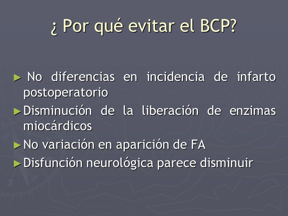 ¿ Por qué evitar el BCP? No diferencias en incidencia de infarto postoperatorio No diferencias en incidencia de infarto postoperatorio Disminución de