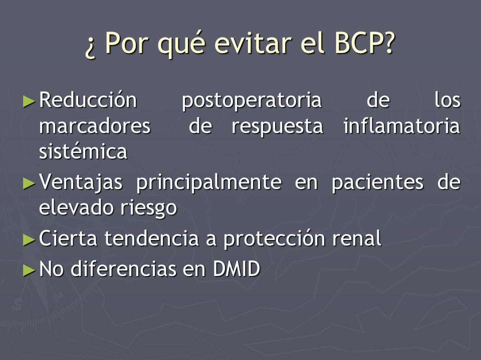 ¿ Por qué evitar el BCP? Reducción postoperatoria de los marcadores de respuesta inflamatoria sistémica Reducción postoperatoria de los marcadores de