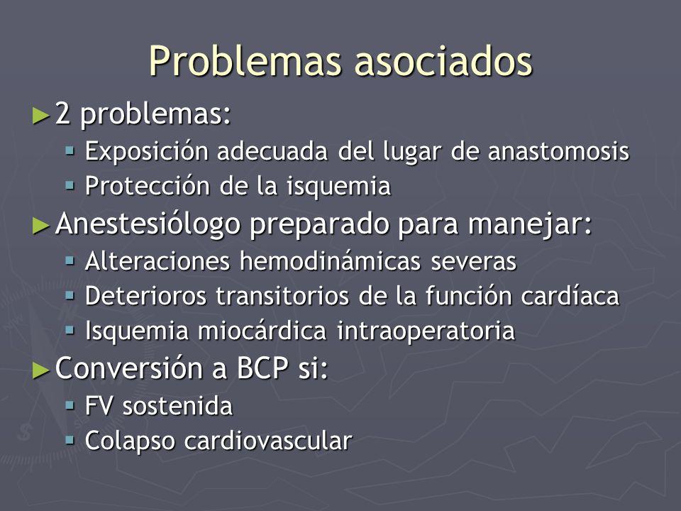 Problemas asociados 2 problemas: 2 problemas: Exposición adecuada del lugar de anastomosis Exposición adecuada del lugar de anastomosis Protección de