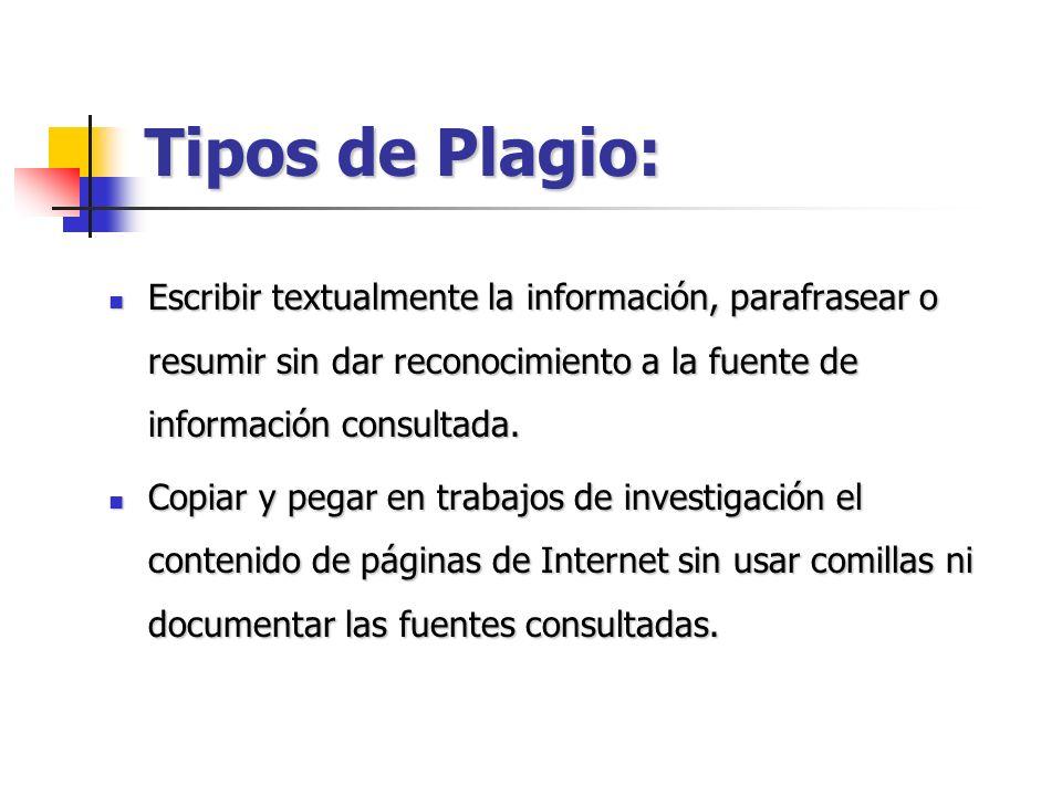 Tipos de Plagio: Escribir textualmente la información, parafrasear o resumir sin dar reconocimiento a la fuente de información consultada. Escribir te