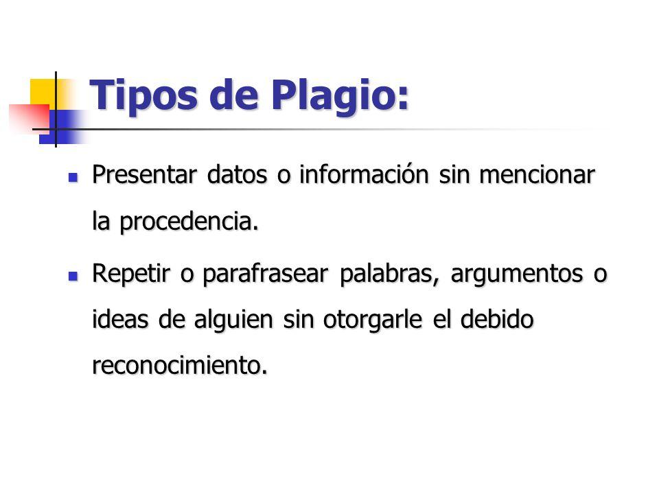 Tipos de Plagio: Presentar datos o información sin mencionar la procedencia. Presentar datos o información sin mencionar la procedencia. Repetir o par