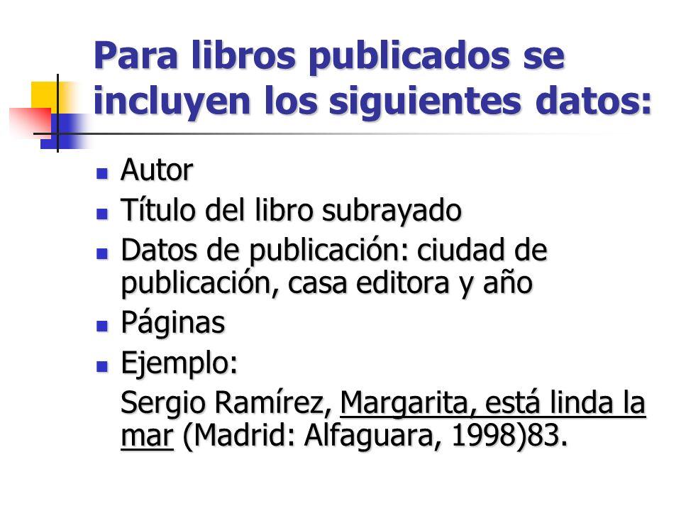 Para libros publicados se incluyen los siguientes datos: Autor Autor Título del libro subrayado Título del libro subrayado Datos de publicación: ciuda