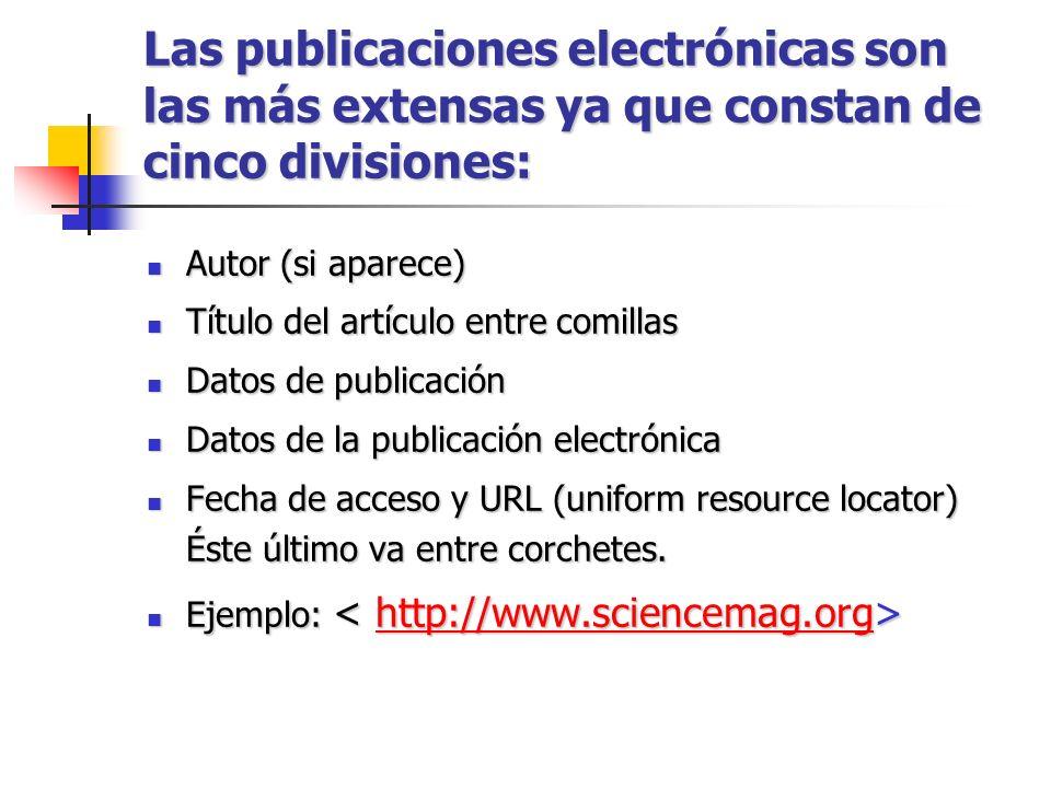 Las publicaciones electrónicas son las más extensas ya que constan de cinco divisiones: Autor (si aparece) Autor (si aparece) Título del artículo entr