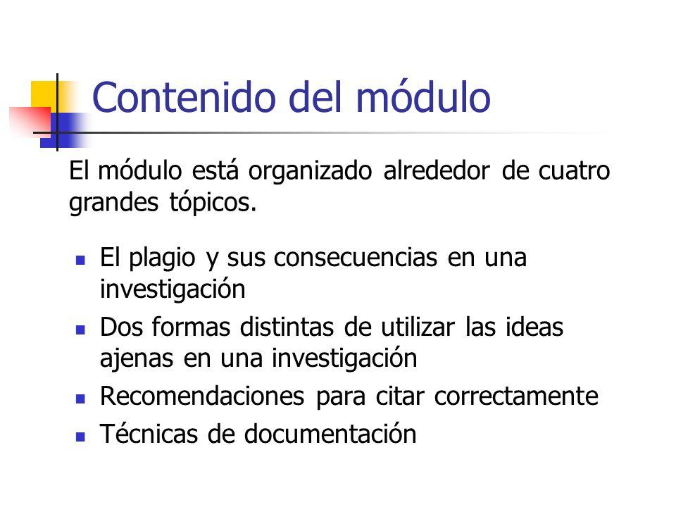 Contenido del módulo El plagio y sus consecuencias en una investigación Dos formas distintas de utilizar las ideas ajenas en una investigación Recomen