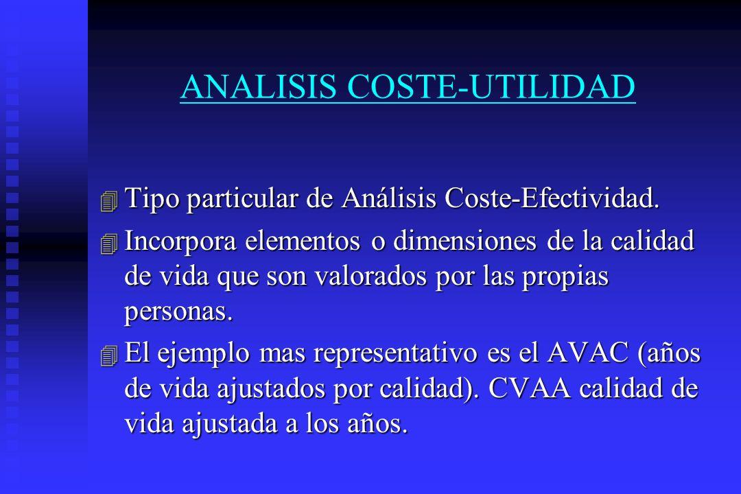 ANALISIS COSTE-UTILIDAD 4 Tipo particular de Análisis Coste-Efectividad. 4 Incorpora elementos o dimensiones de la calidad de vida que son valorados p